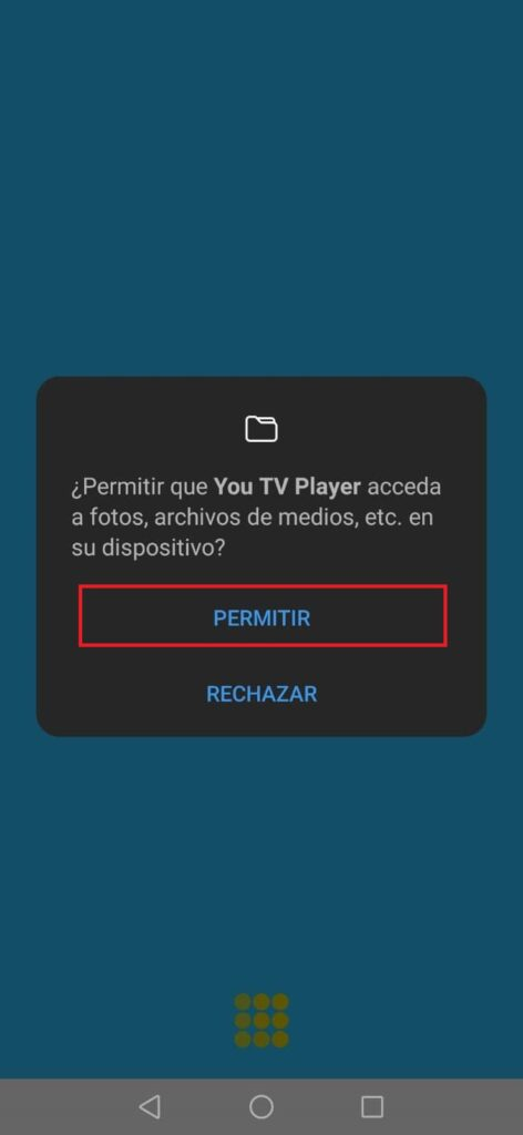 Conceder Permisos de You Tv Player