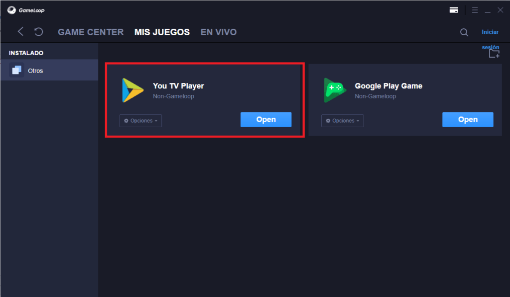 Finalizar Instalación de YouTvPlayer en GameLoop